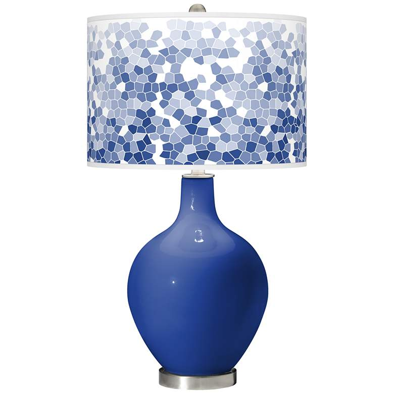 Dazzling Blue Mosaic Giclee Ovo Table Lamp