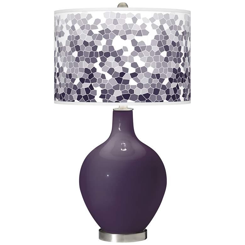 Quixotic Plum Mosaic Giclee Ovo Table Lamp