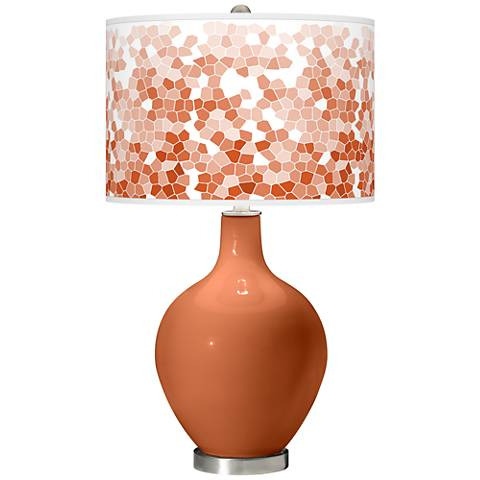 Robust Orange Mosaic Giclee Ovo Table Lamp