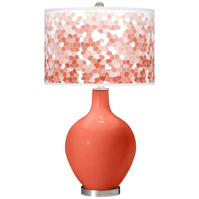 Daring Orange Mosaic Giclee Ovo Table Lamp