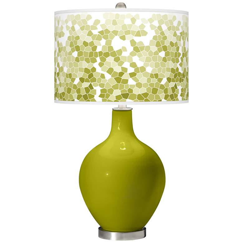 Olive Green Mosaic Giclee Ovo Table Lamp