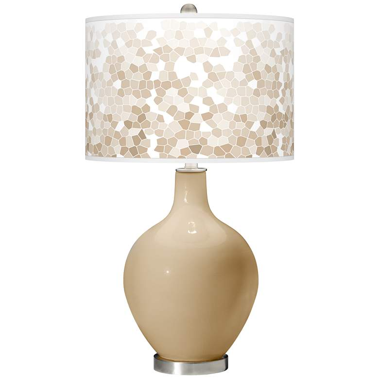 Colonial Tan Mosaic Giclee Ovo Table Lamp
