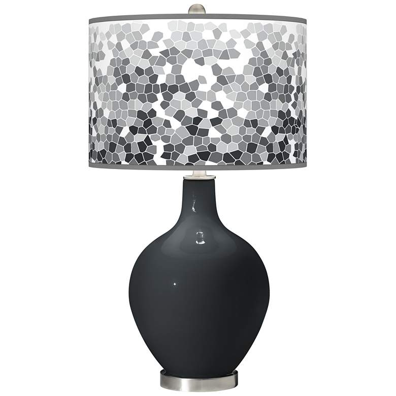 Black of Night Mosaic Giclee Ovo Table Lamp