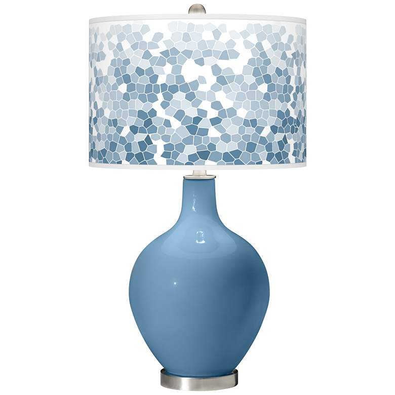 Secure Blue Mosaic Giclee Ovo Table Lamp