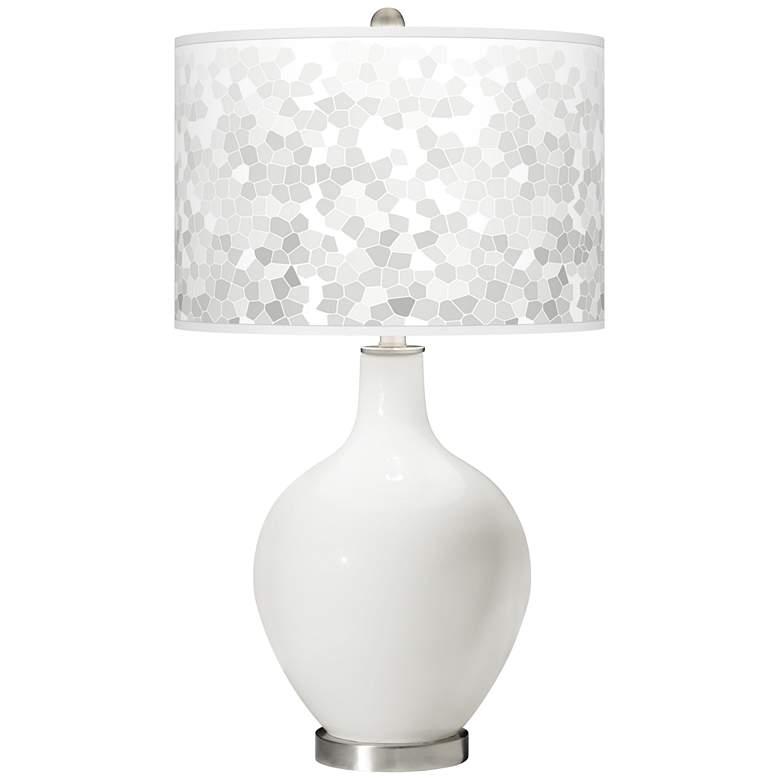 Winter White Mosaic Giclee Ovo Table Lamp