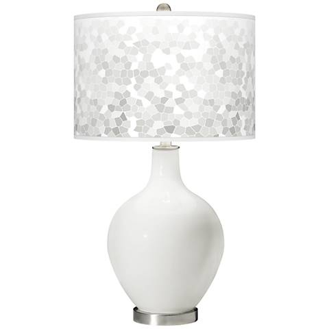 Winter White Mosaic Giclee Ovo Table Lamp