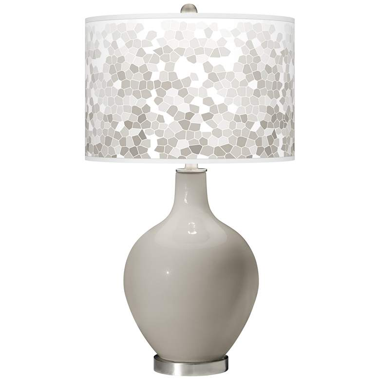 Requisite Gray Mosaic Giclee Ovo Table Lamp
