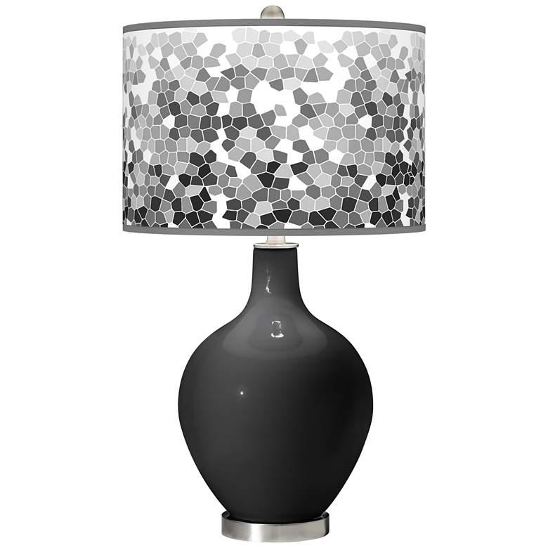 Tricorn Black Mosaic Giclee Ovo Table Lamp