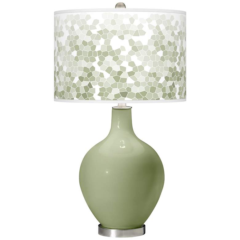 Majolica Green Mosaic Giclee Ovo Table Lamp