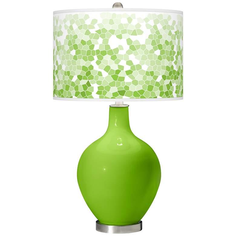Neon Green Mosaic Giclee Ovo Table Lamp
