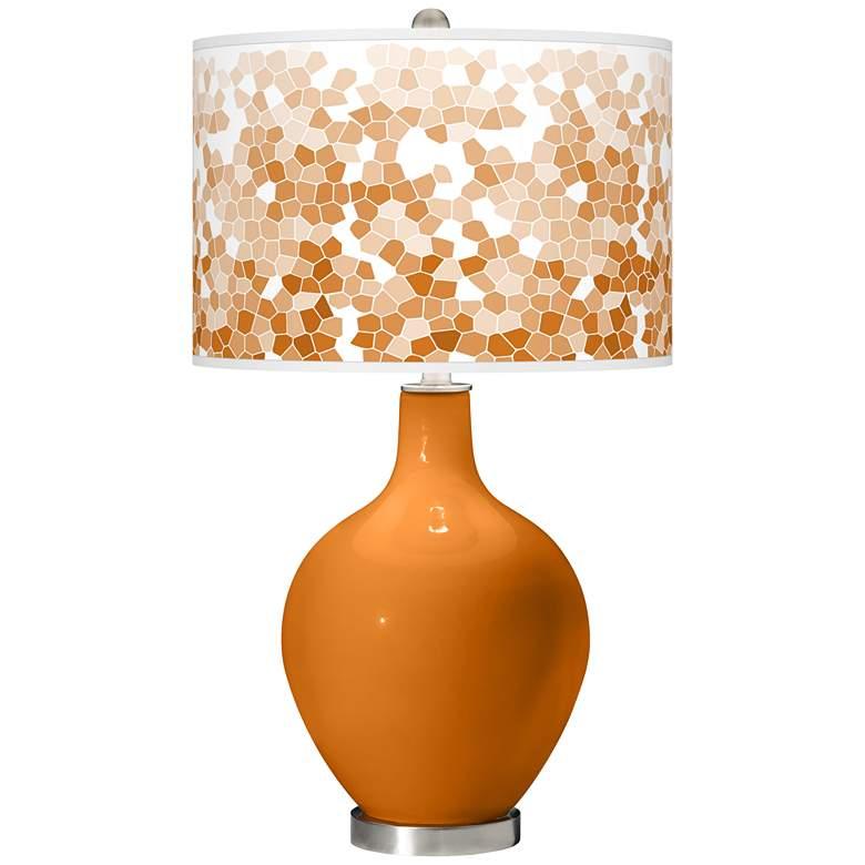 Cinnamon Spice Mosaic Giclee Ovo Table Lamp