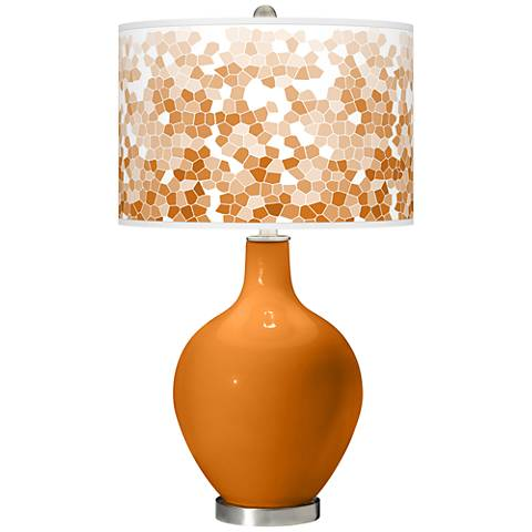 Cinnamon Spice Mosaic Giclee Ovo Table Lamp