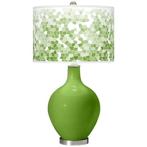 Rosemary Green Mosaic Giclee Ovo Table Lamp