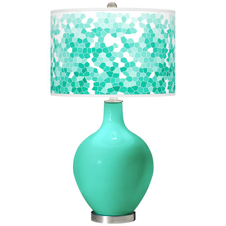 Turquoise Mosaic Giclee Ovo Table Lamp