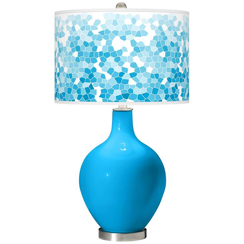 Sky Blue Mosaic Giclee Ovo Table Lamp