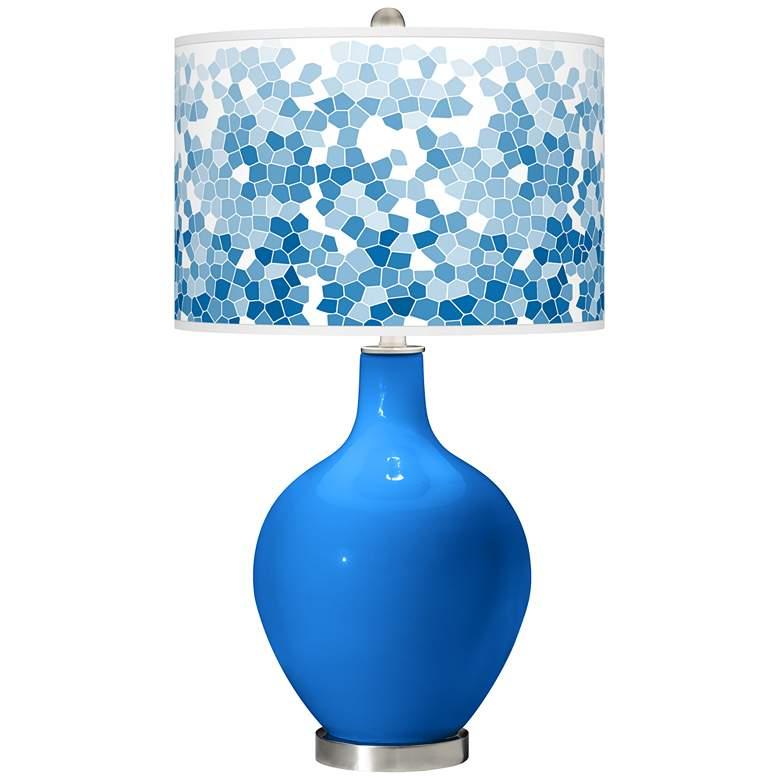 Royal Blue Mosaic Giclee Ovo Table Lamp