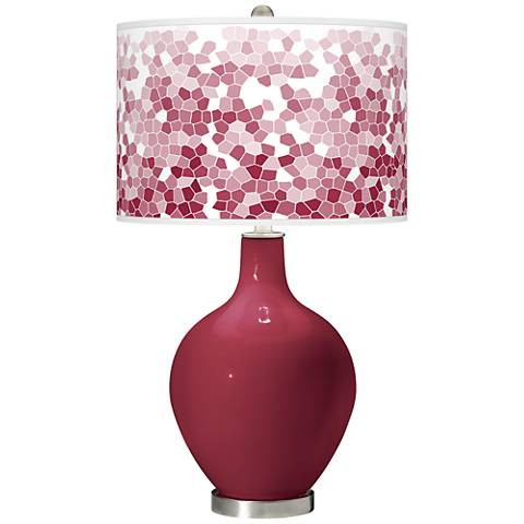 Antique Red Mosaic Giclee Ovo Table Lamp
