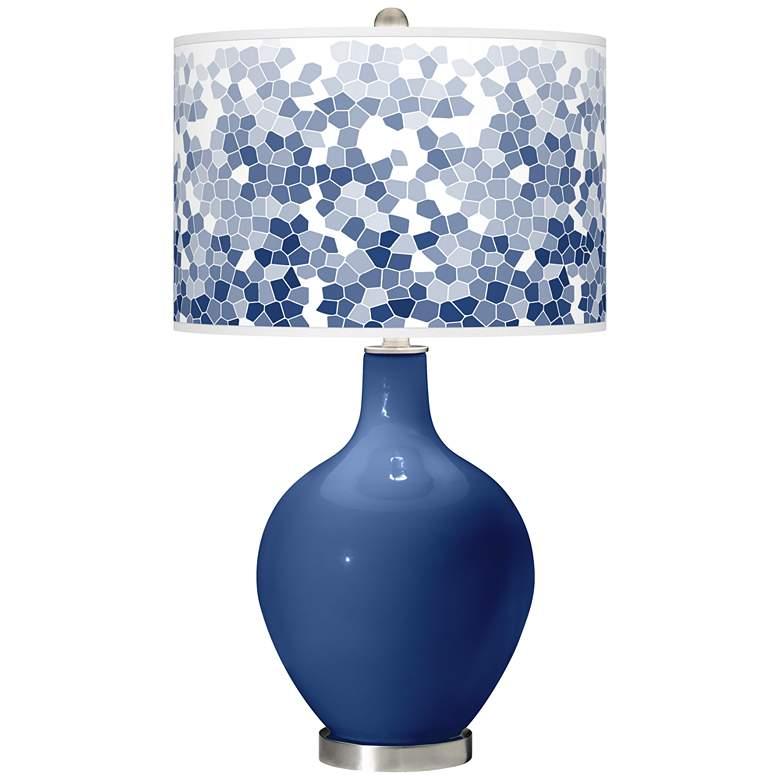 Monaco Blue Mosaic Giclee Ovo Table Lamp