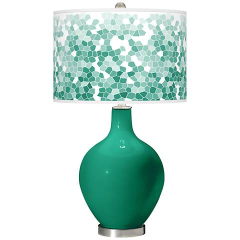Emerald Mosaic Giclee Ovo Table Lamp