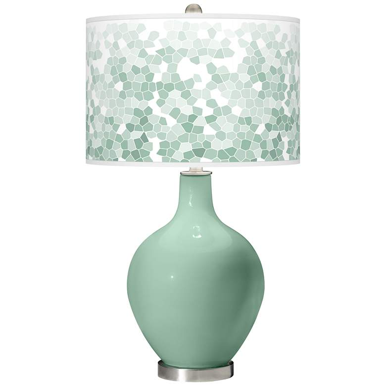 Grayed Jade Mosaic Giclee Ovo Table Lamp
