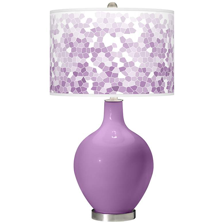 African Violet Mosaic Giclee Ovo Table Lamp