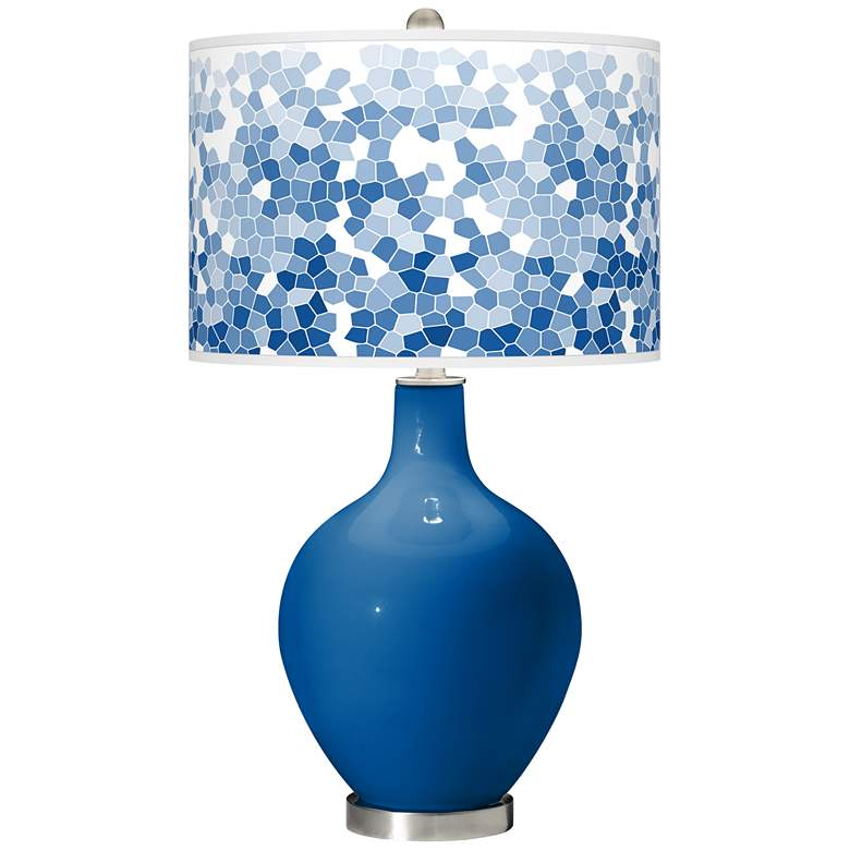 Hyper Blue Mosaic Giclee Ovo Table Lamp