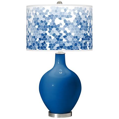 Hyper Blue Mosaic Giclee Ovo Table Lamp