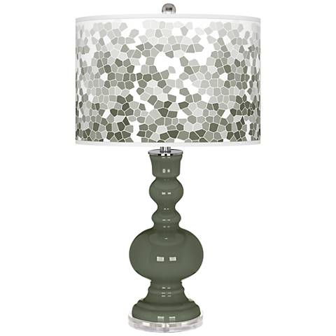 Deep Lichen Green Mosaic Giclee Apothecary Table Lamp