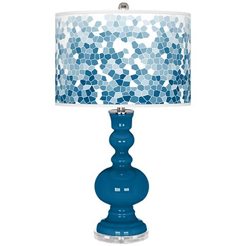 Mykonos Blue Mosaic Giclee Apothecary Table Lamp