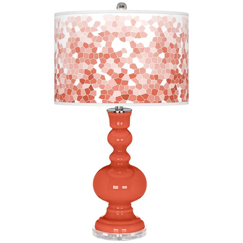 Daring Orange Mosaic Giclee Apothecary Table Lamp