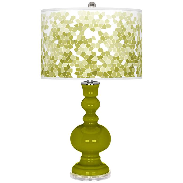Olive Green Mosaic Giclee Apothecary Table Lamp