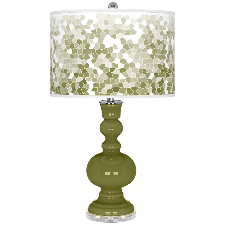 Rural Green Mosaic Giclee Apothecary Table Lamp