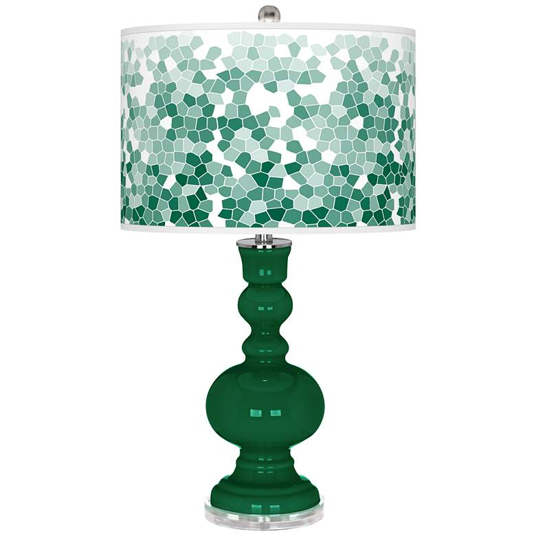 Greens Mosaic Giclee Apothecary Table Lamp