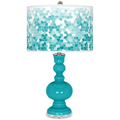 Surfer Blue Mosaic Giclee Apothecary Table Lamp