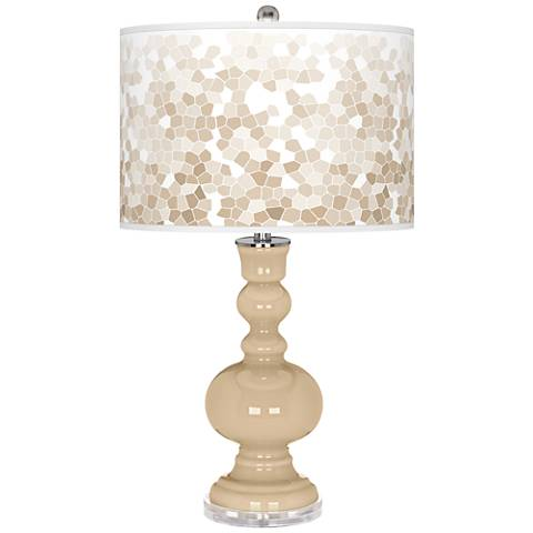 Colonial Tan Mosaic Giclee Apothecary Table Lamp