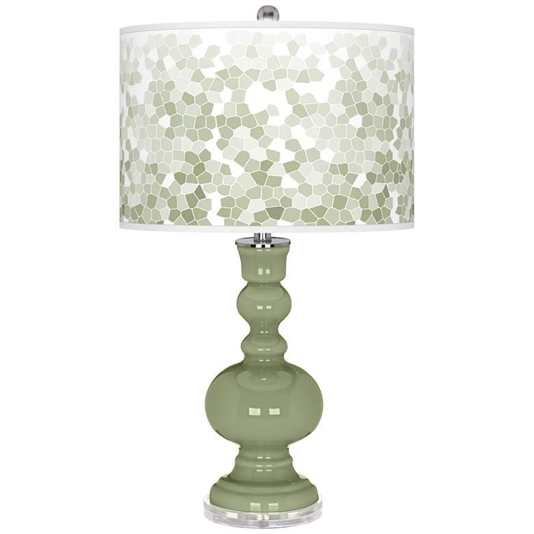 Majolica Green Mosaic Giclee Apothecary Table Lamp