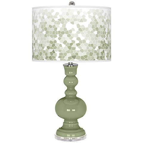 Majolica Green Mosaic Giclee Apothecary Table Lamp