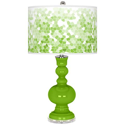Neon Green Mosaic Giclee Apothecary Table Lamp