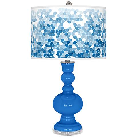 Royal Blue Mosaic Giclee Apothecary Table Lamp
