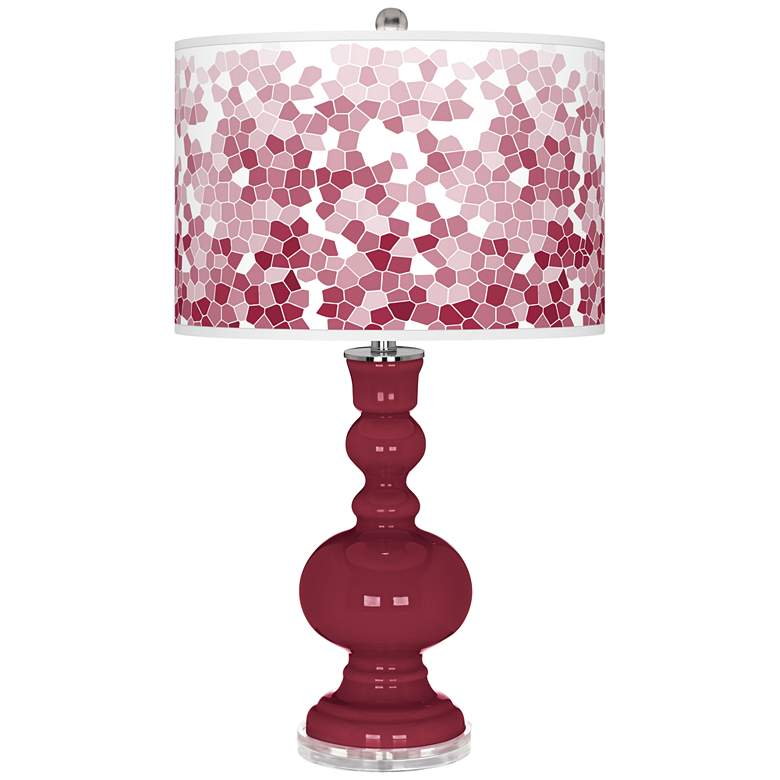 Antique Red Mosaic Giclee Apothecary Table Lamp