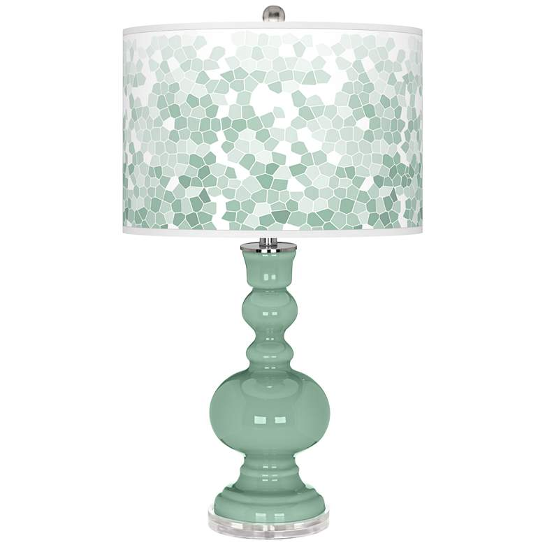 Grayed Jade Mosaic Giclee Apothecary Table Lamp