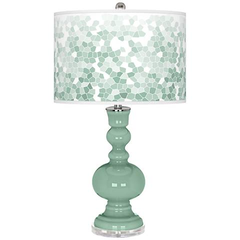 Grayed Jade Mosaic Giclee Apothecary Table Lamp