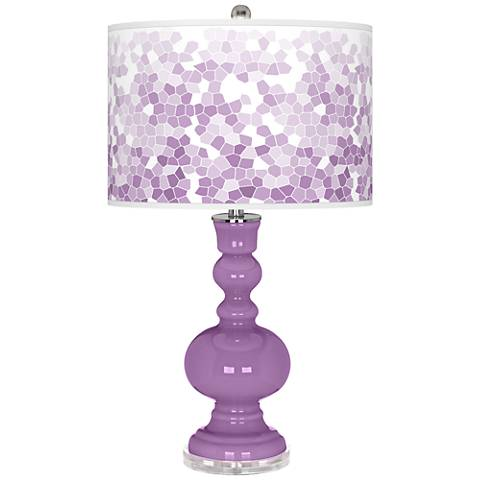 African Violet Mosaic Giclee Apothecary Table Lamp