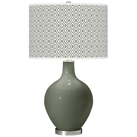 Deep Lichen Green Diamonds Ovo Table Lamp