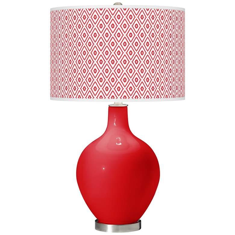 Bright Red Diamonds Ovo Table Lamp