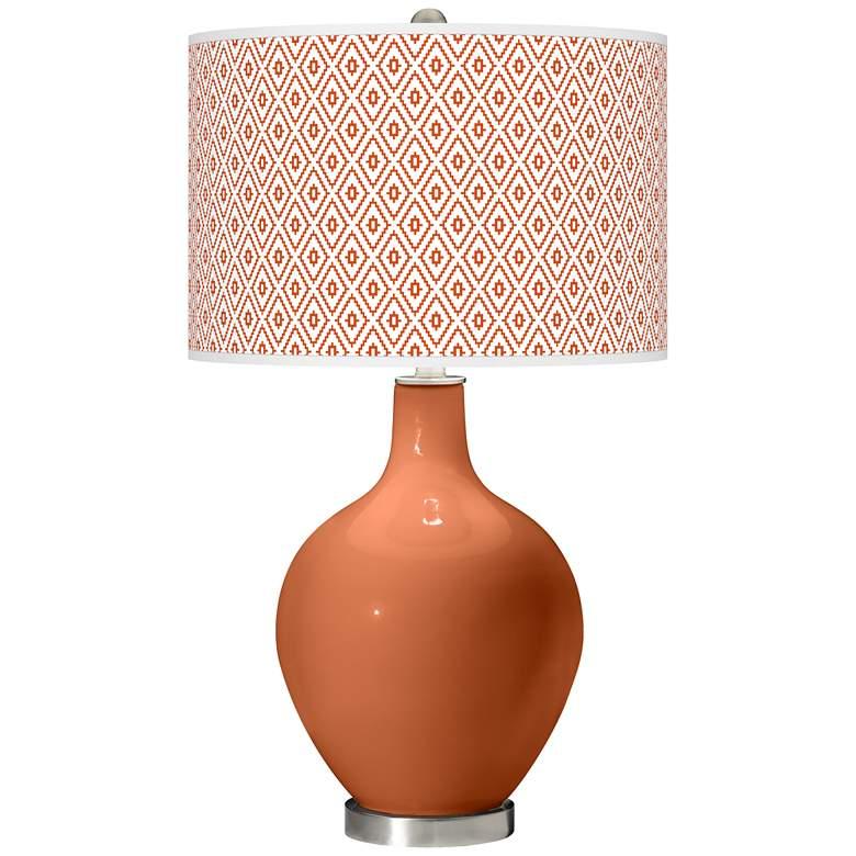 Robust Orange Diamonds Ovo Table Lamp