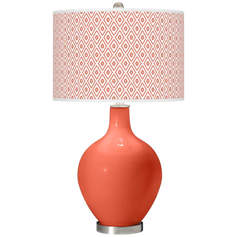 Daring Orange Diamonds Ovo Table Lamp