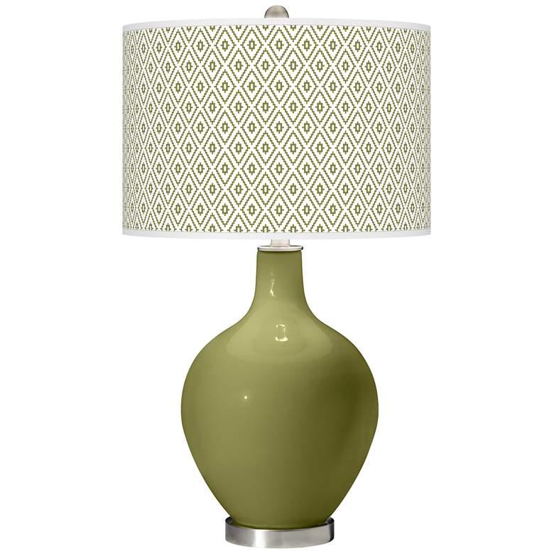Rural Green Diamonds Ovo Table Lamp