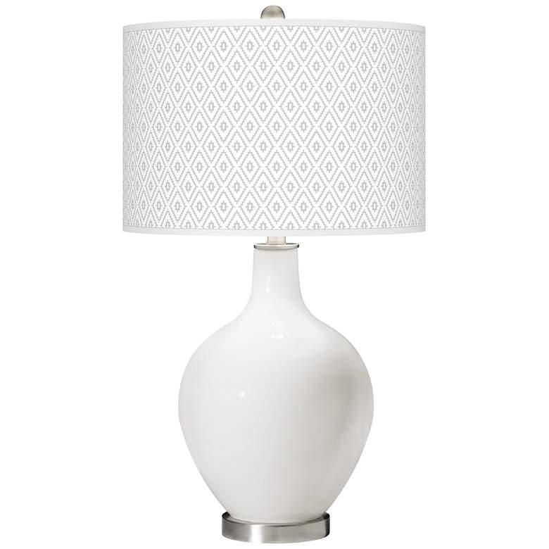Winter White Diamonds Ovo Table Lamp