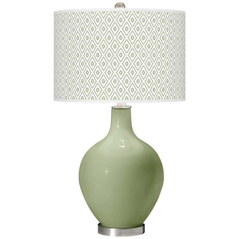 Majolica Green Diamonds Ovo Table Lamp